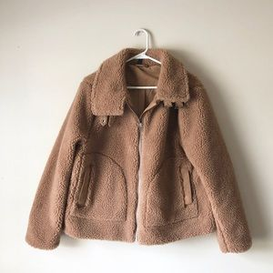 NWOT H&M | Divided Brown Sherpa Cropped Teddy Coat